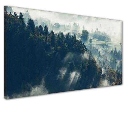 Obraz na ścianę do sypialni salonu mgła las 41363 - 1