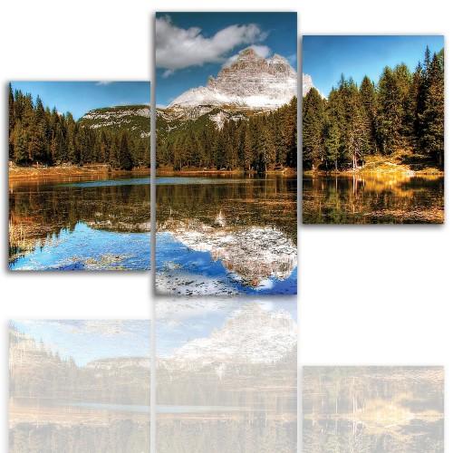 Tryptyk do salonu -  Pejzaż, góry, jezioro 12036 - 1