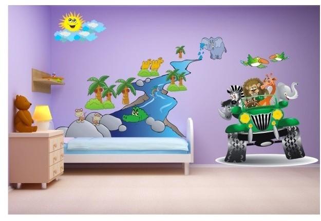 Naklejka ścienna dla dzieci  zestaw 29 auto zwierzęta - 1