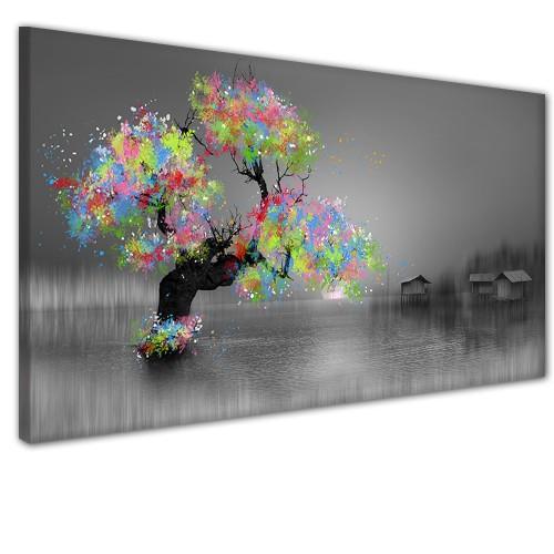 Obraz na ścianę do sypialni salonu kolorowe drzewo 41319 - 1