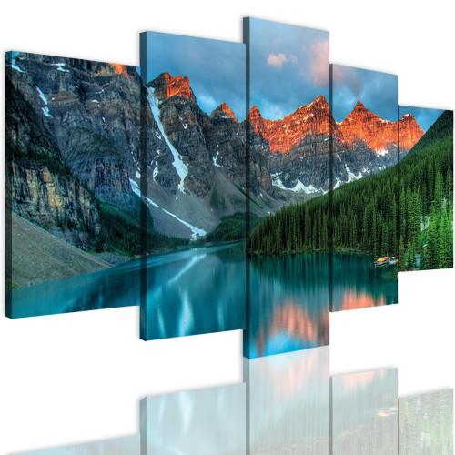 Obrazy 5 częściowe-  Góry, widok, jezioro 12340 - 1