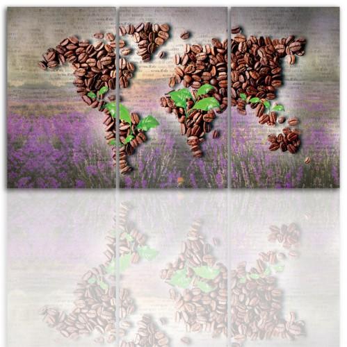 Tryptyk do salonu - Obraz, kawa, mapa świata 12190 - 1