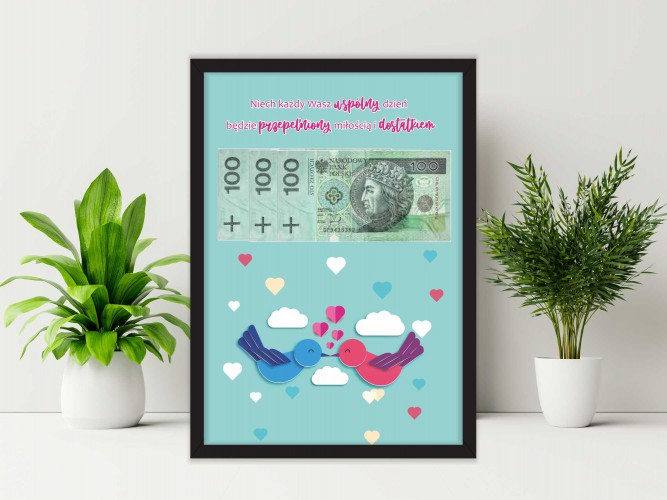 Plakat w ramie na pieniądze, ptaszki, ślub PP016 - 1
