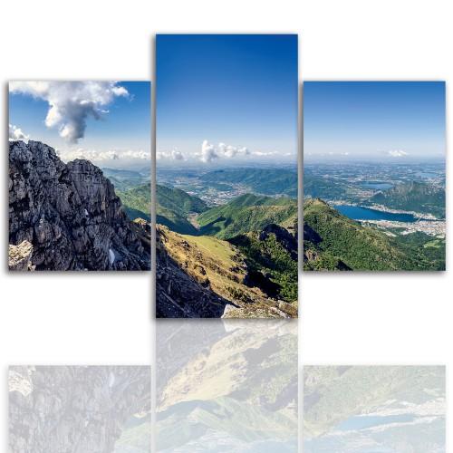 Tryptyk do salonu - Pejzaż, góry, jezioro 12051 - 1