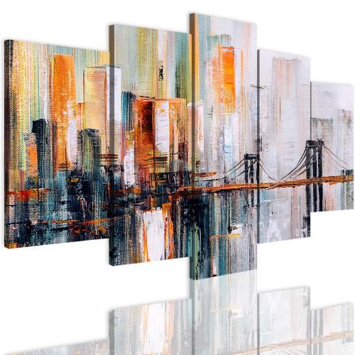 Obrazy na ścianę 5 częściowy 41530 malowane miasto - 1