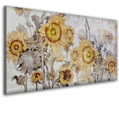 Obraz na ścianę do sypialni salonu malowane słoneczniki   41432 - 1