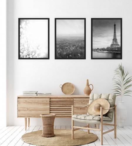 Zestaw trzech plakatów plakaty na ścianę w ramie czarno-białe KP159 - 1