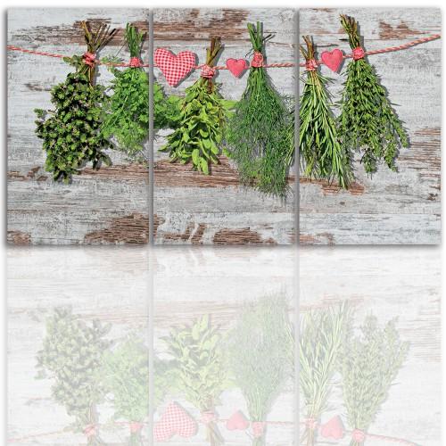 Tryptyk do salonu - Obraz, zioła, kuchnia 12201 - 1