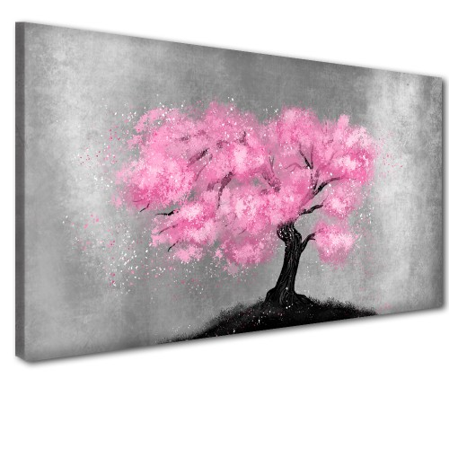 Obraz na ścianę do sypialni salonu różowe drzewo 41301 - 1