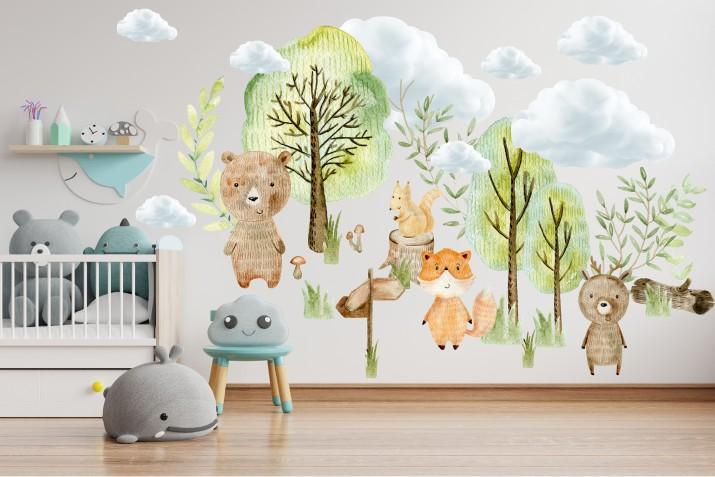 Naklejki dla dzieci dziecka na ścianę malowane zwierzęta 41476 - 1