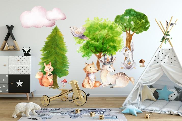 Naklejki na ścianę dla dziecka 41003 Leśna przygoda - 1
