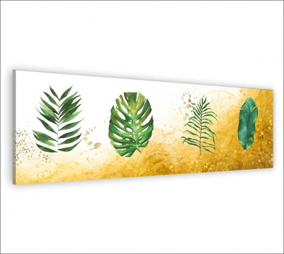 Obraz na ścianę do sypialni salonu akwarela, monstery, złoto 20140 - 1