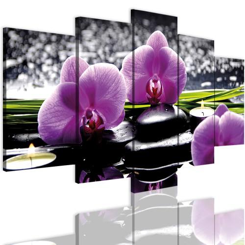 Obrazy 5 częściowe- Kwiaty, storczyki 12331 - 1