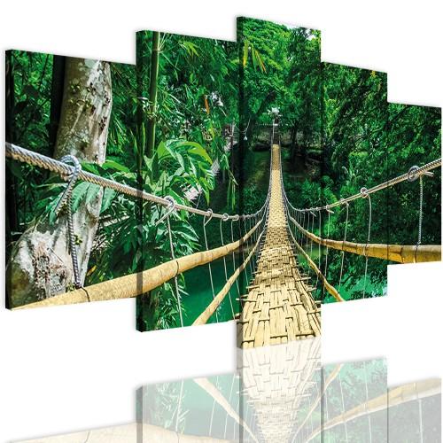 Obrazy 5 częściowe-  Las, most 12351 - 1