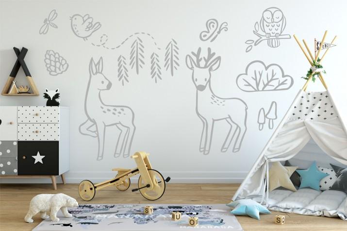 Naklejka ścienna dla dzieci -  zwierzątka, las, drzewa, sarny 10355 - 1