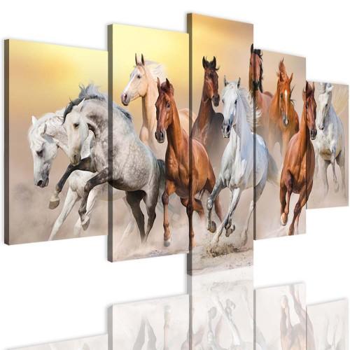 Obrazy 5 częściowe 15118 Konie w galopie - 1