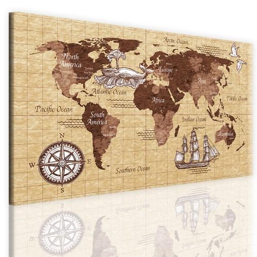 Obraz ścienny jednoczęściowy mapa świata 41097 - 1
