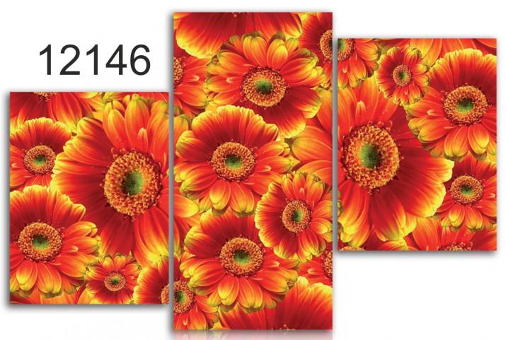 Tryptyk do salonu - Kwiaty, margaretki 12146 - 1