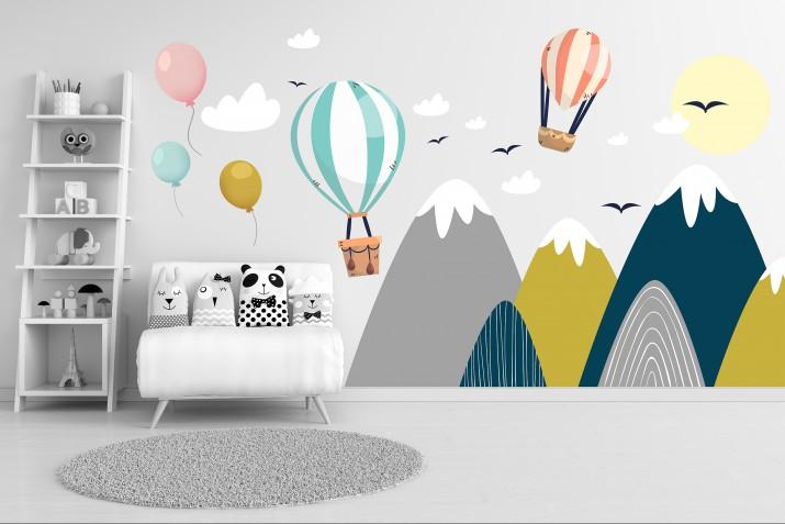 Naklejki na ścianę dla dzieci 41333 góry balony - 1