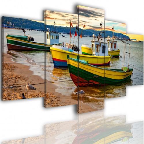 Obrazy 5 częściowe- Łódki morze plaża pejzaż 517 - 1