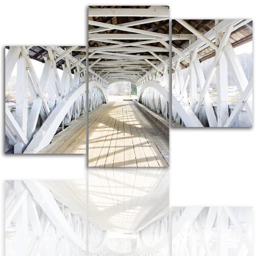 Tryptyk do salonu - Pejzaż, widok, stary most 12008 - 1