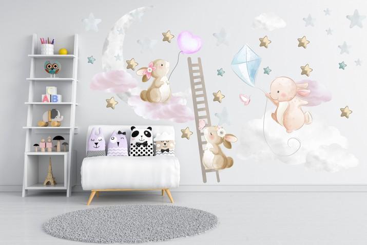 Naklejki dla dzieci na ścianę króliczki chmurki 41488 - 1