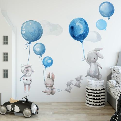 Naklejki dla dzieci na ścianę króliki balony niebieskie 41070 - 1