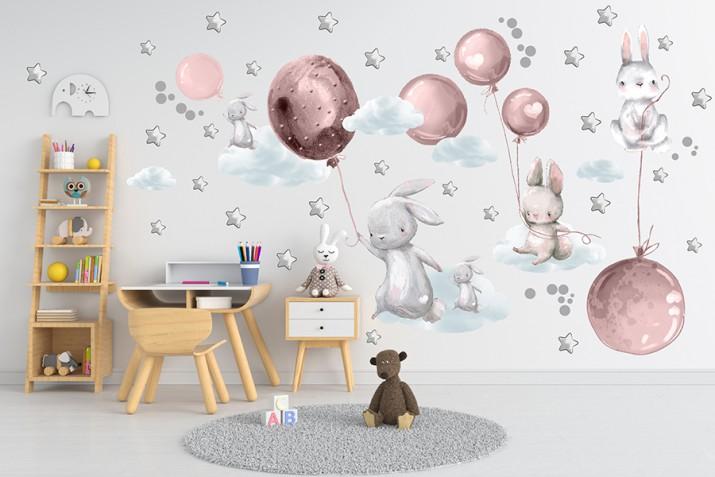 Naklejki dla dzieci dziecka na ścianę balony różowe króliki 41466 - 1