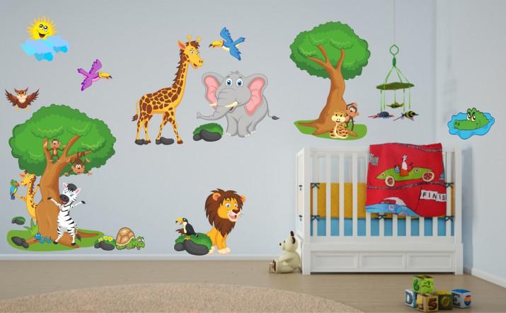 Naklejka ścienna dla dzieci -  safari, zwierzęta zestaw 56 - 1