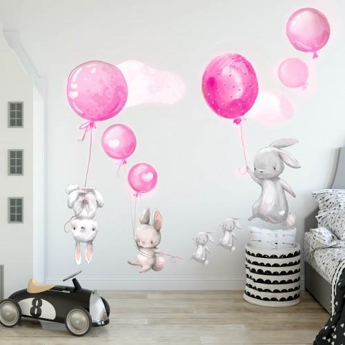 Naklejki na ścianę dla dzieci  króliki góry 41047 różowe balony króliki - 1