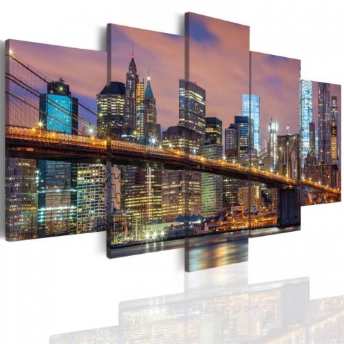 Obraz  5-częściowy- - Miasto Nowy York Manhattan noc 501 - 1