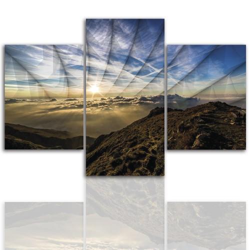 Tryptyk do salonu - Pejzaż, góry, chmury 12232 - 1