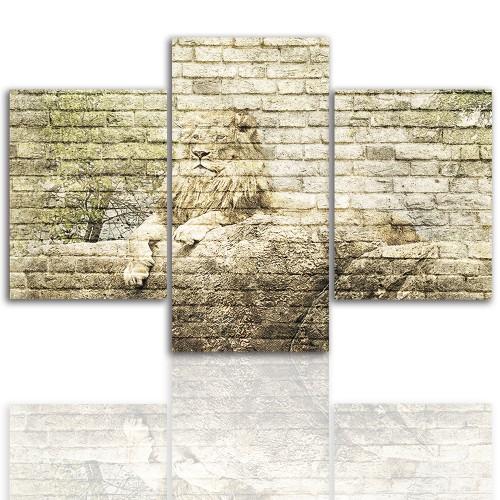 Tryptyk do salonu - Pejzaż, lew, kamienie 12237 - 1
