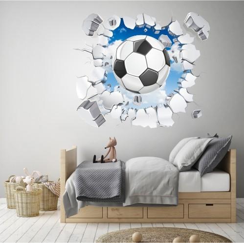 Naklejka na ścianę, dziura 3D piłka 2372 - 1