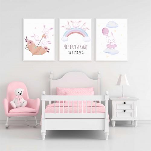 Zestaw trzech plakatów plakaty na ścianę w ramie pastelowe króliczki KD018 - 1