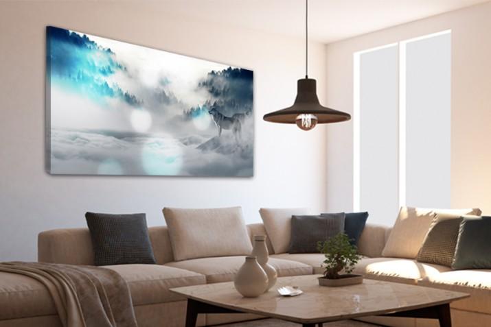 Obrazy na ramie płótno canvas 15207 las, wilki, mgła - 1