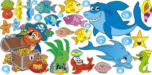 Naklejka ścienna dla dzieci -  morze, ryby zestaw 115 - 1