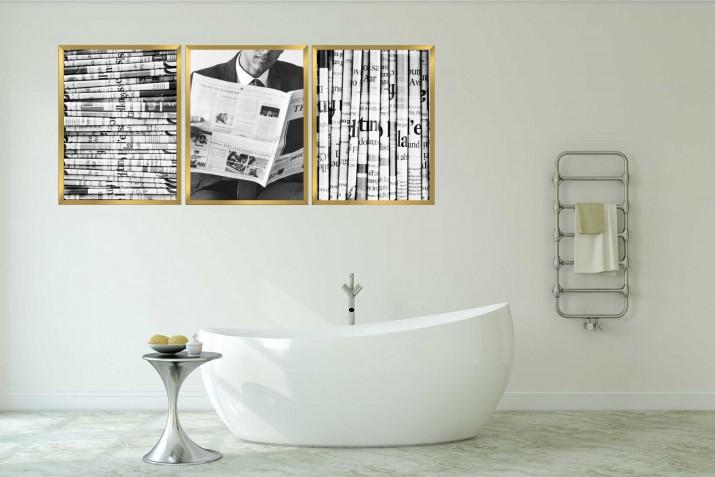 Zestaw plakatów trzy plakaty na ścianę w ramie do łazienki AG004 - 1