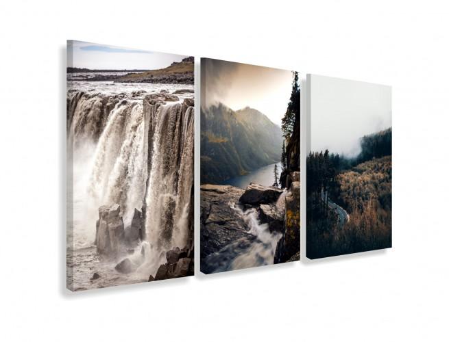 Obrazy na ścianę do salonu sypialni 19006 wodospad rzeka woda las góry - 1