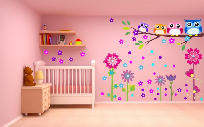 Naklejka ścienna dla dzieci -  kwiaty, sowy, zestaw 45 - 1
