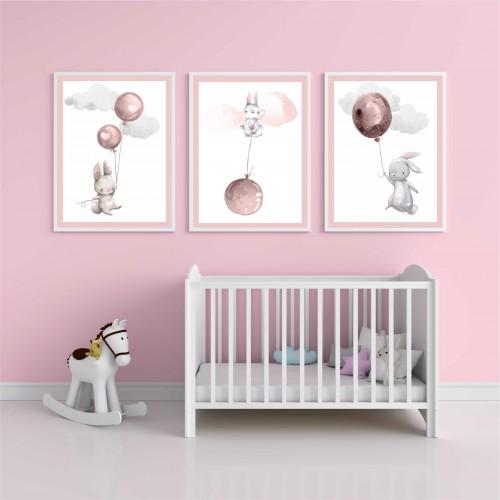 Zestaw trzech plakatów plakaty na ścianę w ramie króliczki KD001 - 1
