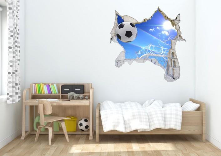 Naklejka na ścianę, dziura 3D piłka siatka niebo 3601 - 1