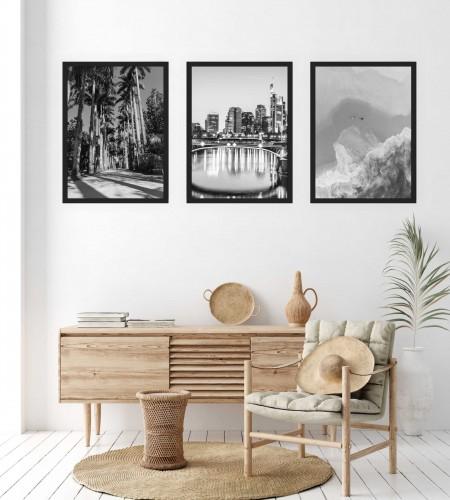 Zestaw trzech plakatów plakaty na ścianę w ramie czarno-białe KP158 - 1