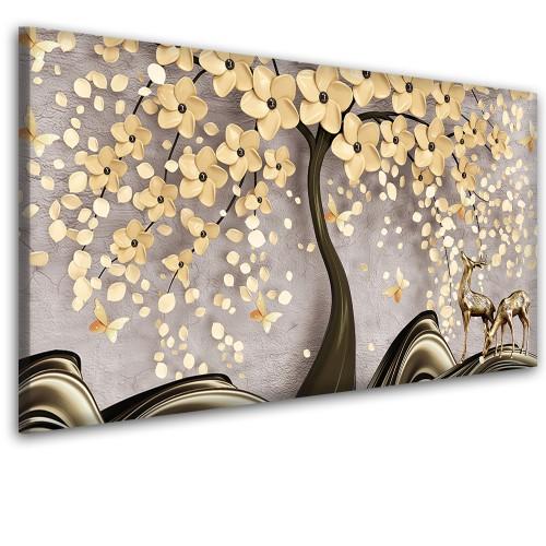 Obraz na ścianę do sypialni salonu drzewo 3d złoto  41426 - 1