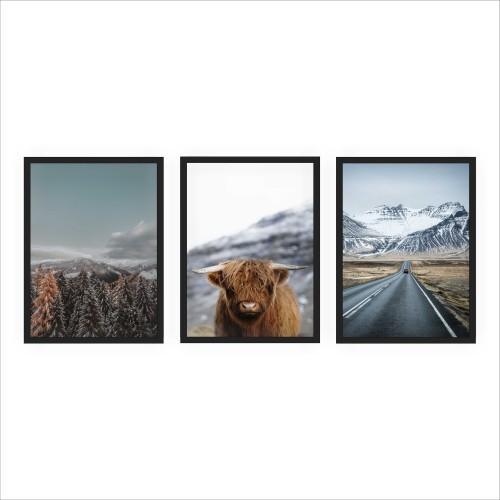Komplet trzech plakatów w ramie mroźna Skandynawia KP090 - 1