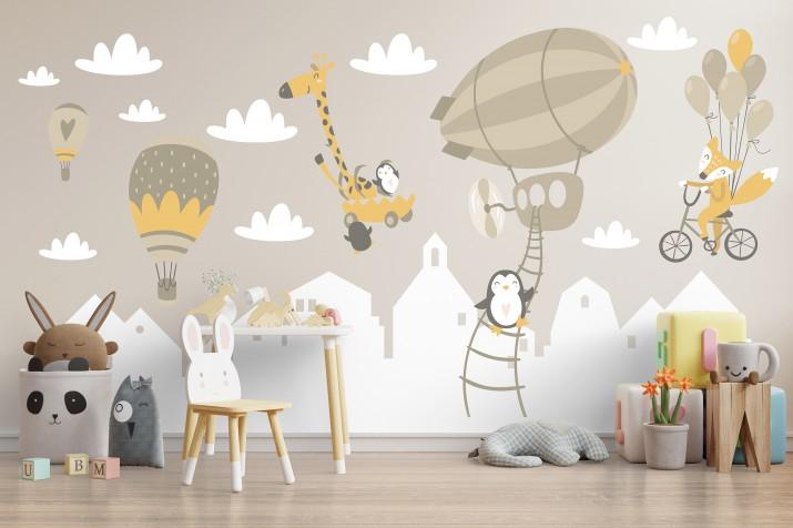 Naklejka na ścianę dla dzieci 41337 balony góry - 1