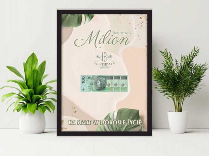 Plakat w ramie na pieniądze  monstera PP006 - 1