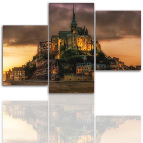 Tryptyk do salonu - Pejzaż, góry, zamek 12029 - 1