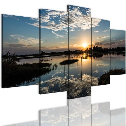Obrazy 5 częściowe- Jezioro, zachód słońca 12284 - 1