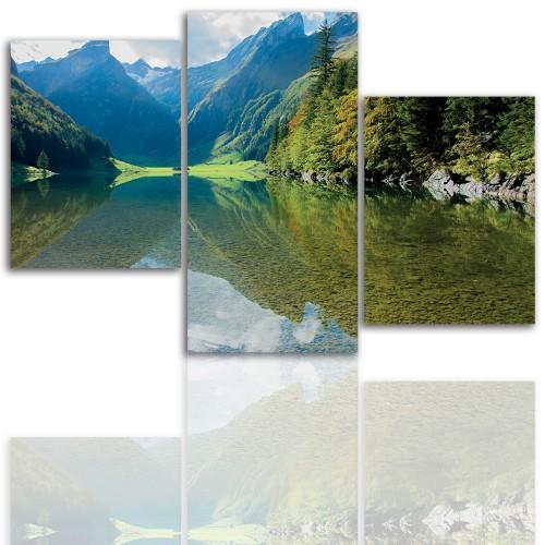 Tryptyk do salonu - Pejzaż, góry, jezioro 12112 - 1